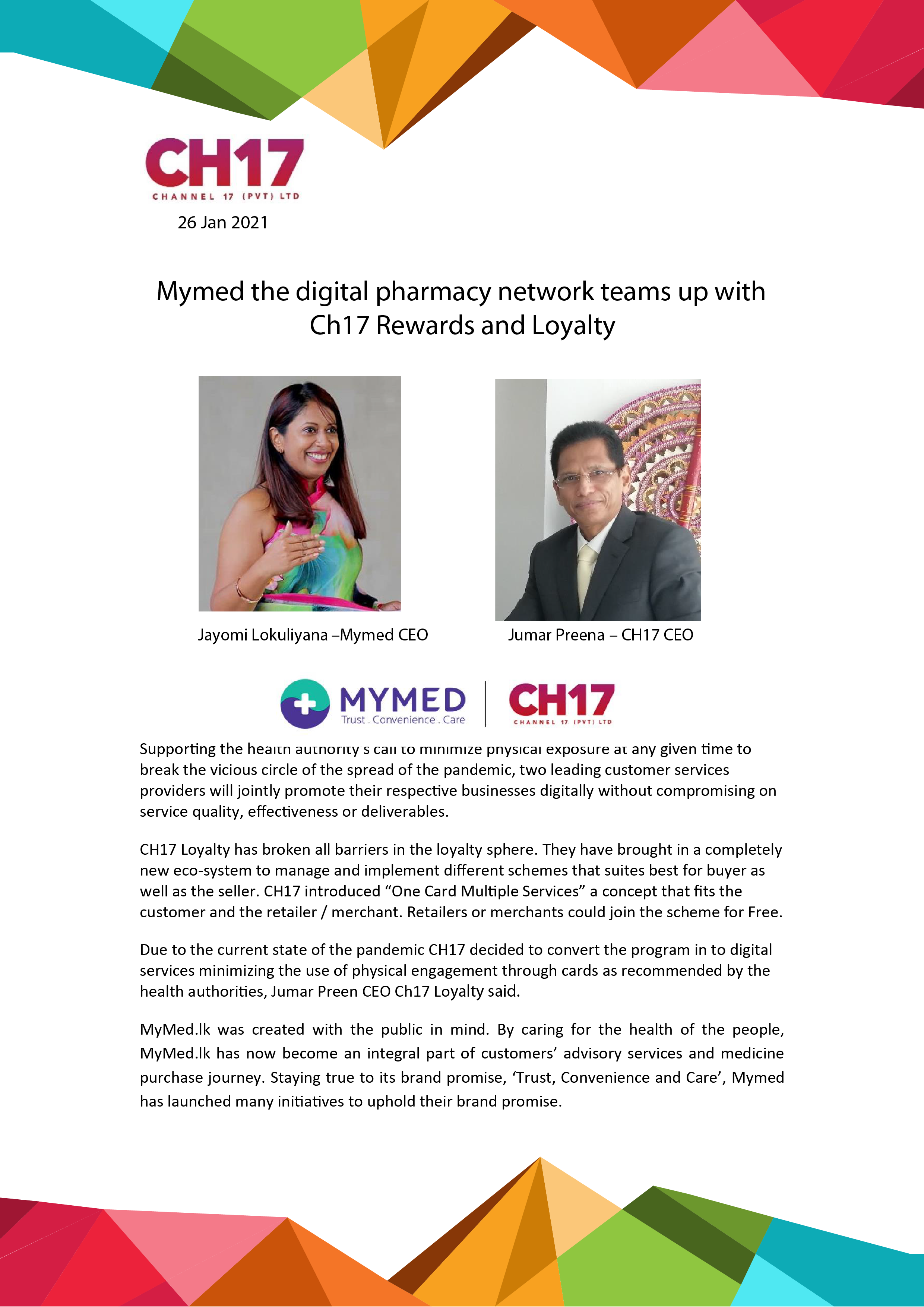 MYMED the digital pharmacy network teams up with CH17 Rewards & Loyalty
