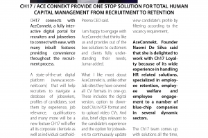 CH17 / ACE CONNEKT provide one stop solution for total human capital management from recruitment to retention